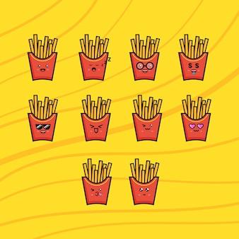 Conception de vecteur de frites de mascotte. convient à votre papier peint