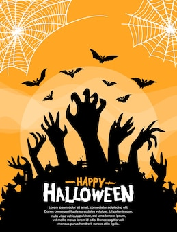 Conception de vecteur d'halloween avec la silhouette de la main zombie sur fond orange