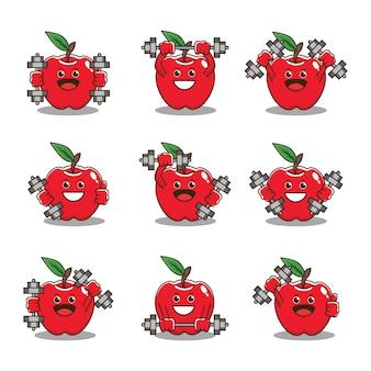 Conception de vecteur d'haltères de levage de caractère mignon de pomme