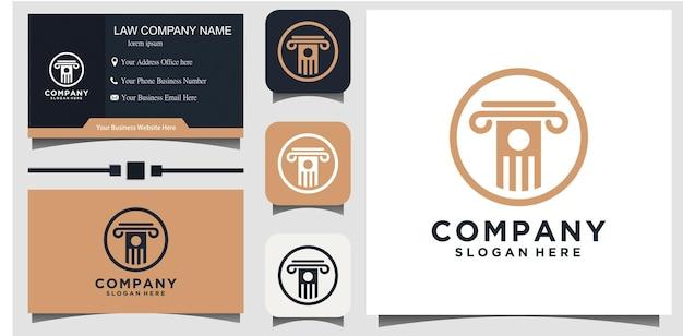 Conception de vecteur d'icône de logo de cabinet d'avocats. juridique universel, avocat avec arrière-plan du modèle de carte de visite