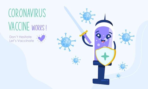 Conception de vecteur d'illustration de campagne de vaccination de dessin animé