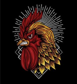 Conception de vecteur d'illustration de combat de coq