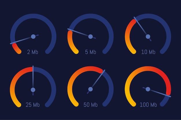 Conception de vecteur indicateur de niveau de vitesse internet compteur de vitesse