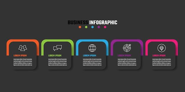 Conception de vecteur d'infographie chronologique, illustration