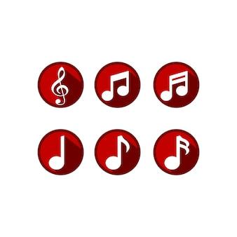 Conception de vecteur de jeu d'icônes de tonalité de musique