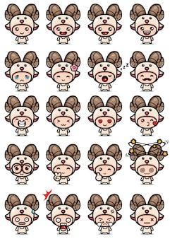 Conception de vecteur de jeu de mascotte de chèvre mignon