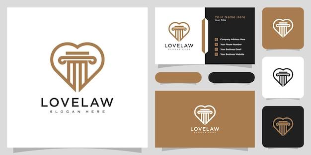 Conception de vecteur de logo d'amour et de cabinet d'avocats et carte de visite