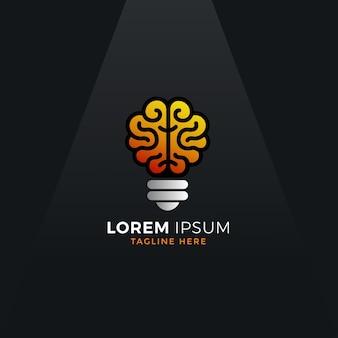 Conception de vecteur de logo d'ampoule de cerveau