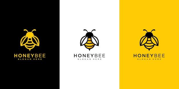 Conception de vecteur de logo d'animaux d'abeille de miel