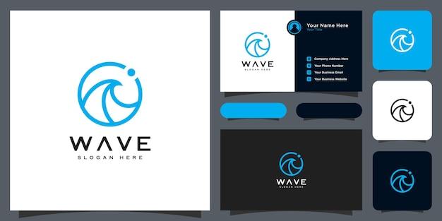 Conception de vecteur de logo de cercle de vague et carte de visite