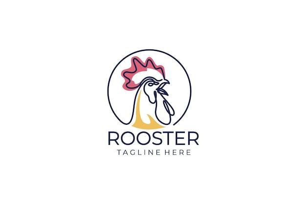 Conception de vecteur de logo de coq de coq. conception d'icône de style de ligne