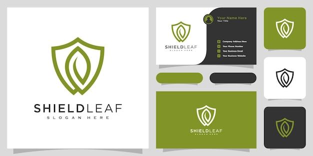 Conception de vecteur de logo de feuille de bouclier et carte de visite