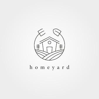 Conception de vecteur de logo de jardin de paysage de cour à la maison, conception de logo minimale de ferme