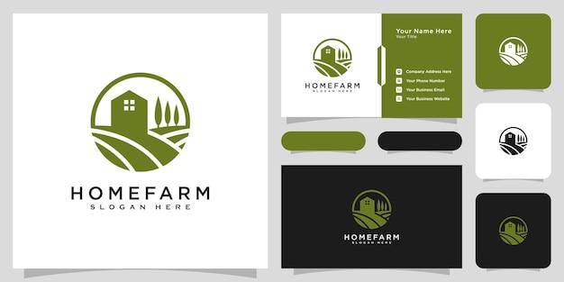 Conception de vecteur de logo de maison de ferme et carte de visite