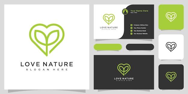 Conception de vecteur de logo nature amour et carte de visite