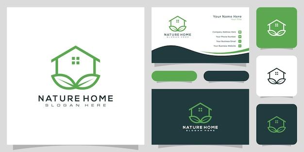 Conception de vecteur de logo nature maison et carte de visite