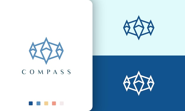 Conception de vecteur de logo de navire ou d'aventure avec une forme de boussole simple et moderne