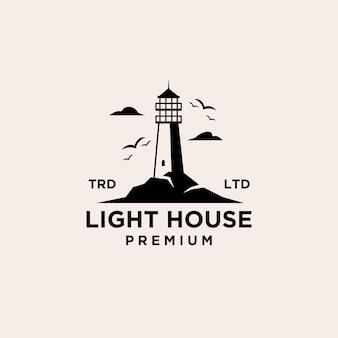 Conception de vecteur de logo phare vintage premium