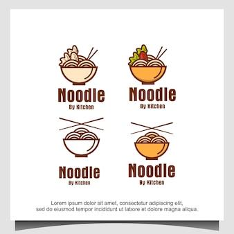 Conception de vecteur de logo de restaurant et de nourriture de nouilles