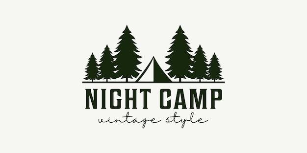 Conception de vecteur de logo de tente d'arbre vintage camp de nuit