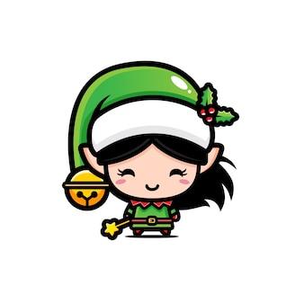 Conception de vecteur mignon fille elfe