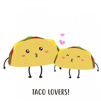 Conception de vecteur mignon heureux délicieux taco