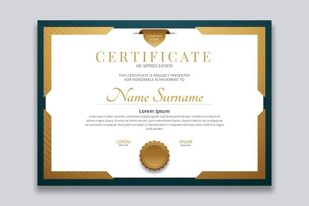 Conception de vecteur de modèle de certificat moderne
