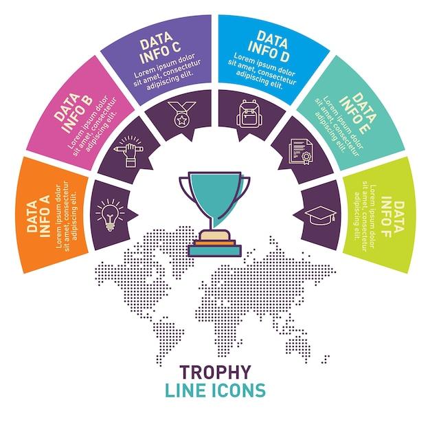 Conception de vecteur de modèle infographique trophée