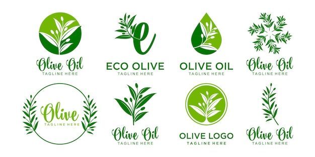Conception de vecteur de modèle de jeu d'icônes de logo d'olive