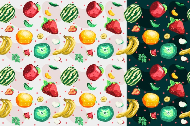 Conception de vecteur de modèle sans couture de collection de fruits
