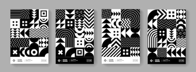 Conception de vecteur de motif géométrique minimal à la mode. affiches modernes serties d'éléments de forme. fond de hipster noir et blanc.