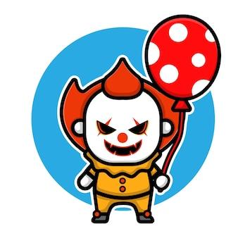 Conception de vecteur de personnage de clown effrayant mignon