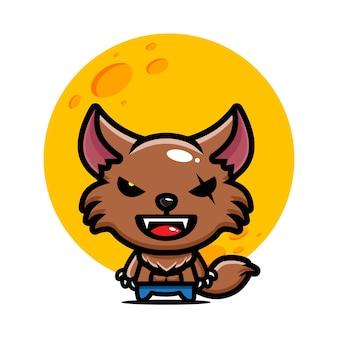 Conception de vecteur de personnage de loup-garou mignon