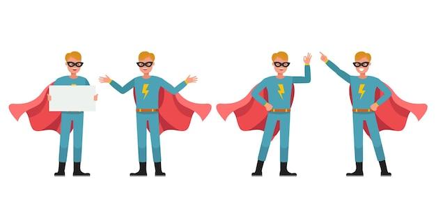 Conception de vecteur de personnage de super-héros homme. présentation dans diverses actions. n ° 3