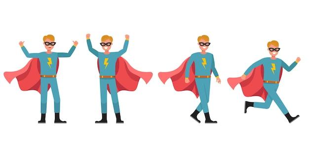 Conception de vecteur de personnage de super-héros homme. présentation dans diverses actions. numéro 6
