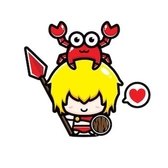 Conception de vecteur de personnages mignons avec des crabes