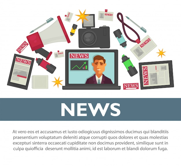 Conception de vecteur plat affiche de nouvelles des éléments de travail de profession de journaliste et journaliste