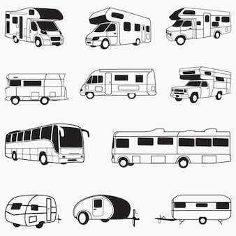 Conception de vecteur de silhouettes de camping-car rv