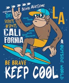 Conception de vecteur de singe cool dessinés à la main pour l'impression de t-shirt