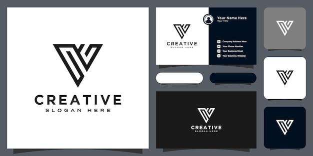 Conception de vecteur de style de ligne de logo de lettre initiale v