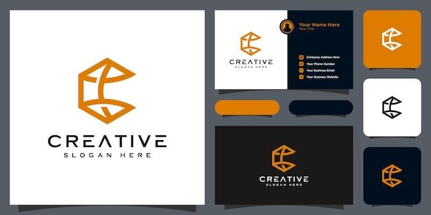Conception de vecteur de style de ligne logo lettre initiale c