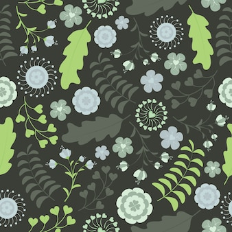 Conception de vecteur transparente motif floral avec des fleurs turquoises sur fond vert foncé