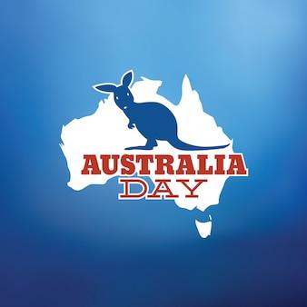 Conception de vecteur typographique happy australia day avec kangourou