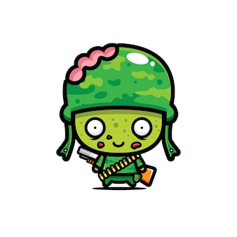Conception de vecteur de zombie armée mignon