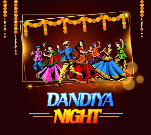 Conception vectorielle d'un couple indien jouant à garba dans le festival dandiya night navratri dussehra de l'inde