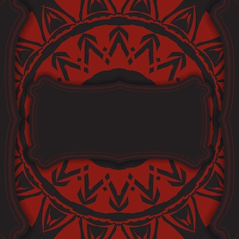 Conception vectorielle luxueuse de carte postale de couleur noire avec des ornements grecs rouges. conception de cartes d'invitation avec un espace pour votre texte et vos motifs abstraits.