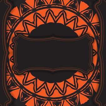 Conception vectorielle luxueuse de carte postale de couleur noire avec des ornements orange. conception de cartes d'invitation avec un espace pour votre texte et vos motifs abstraits.