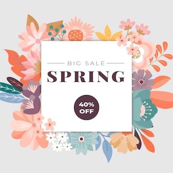 Conception de vente de collection de printemps avec des fleurs colorées
