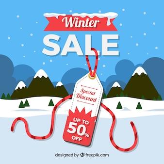 Conception de vente d'hiver avec étiquette