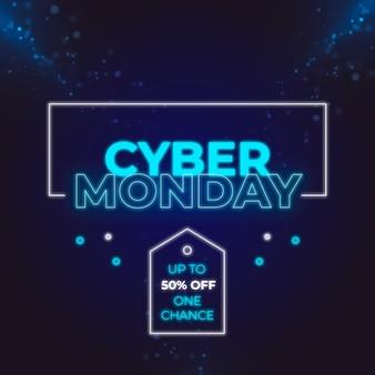 Conception de vente néon cyber lundi